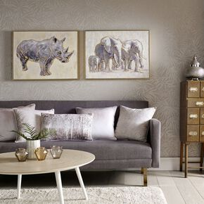 Metallic Rhino Handpainted Framed Canvas, , large