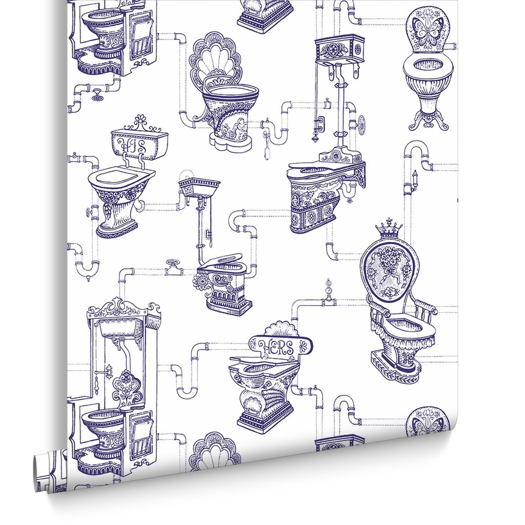 loo loo blue wallpaper toilet design wallpaper graham brown. Black Bedroom Furniture Sets. Home Design Ideas