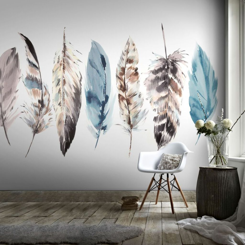 Couture watercolour feathers mural grahambrownuk for Designer mural wallpaper