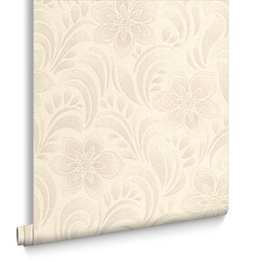 Jacquard Floral Cream Wallpaper, , large