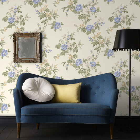 Cottage Garden Buttermilk and Blue Wallpaper, , large