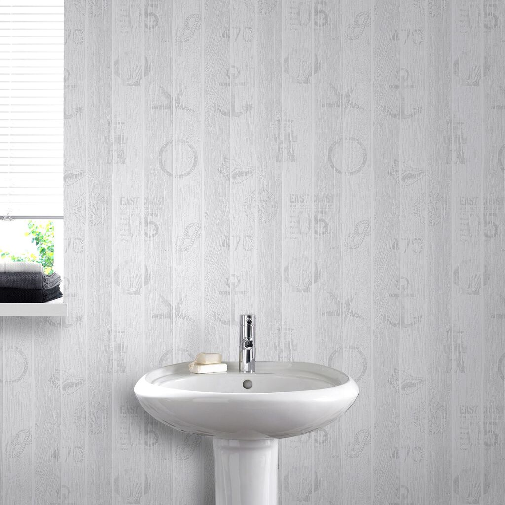 Nautical grey wallpaper grahambrownus for Gray and white wallpaper bathroom