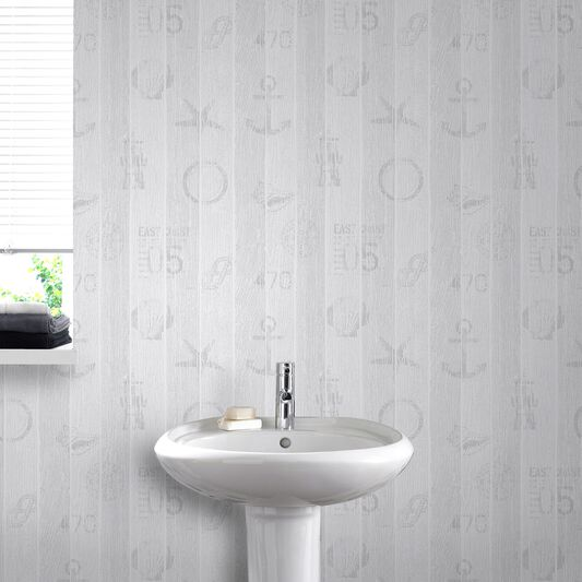 Nautical grey wallpaper grahambrownus for Grey bathroom wallpaper