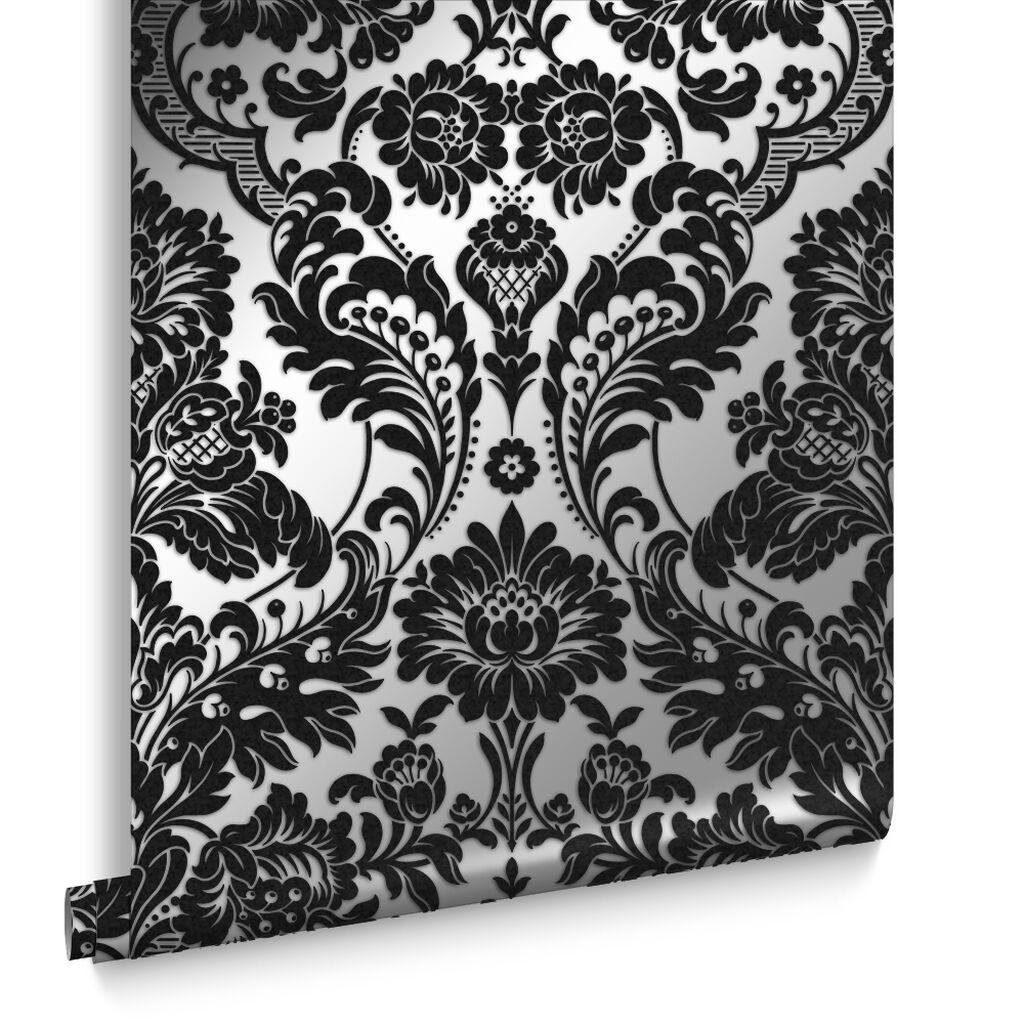 Gothic damask flock black silver wallpaper grahambrownuk for Black and silver wallpaper