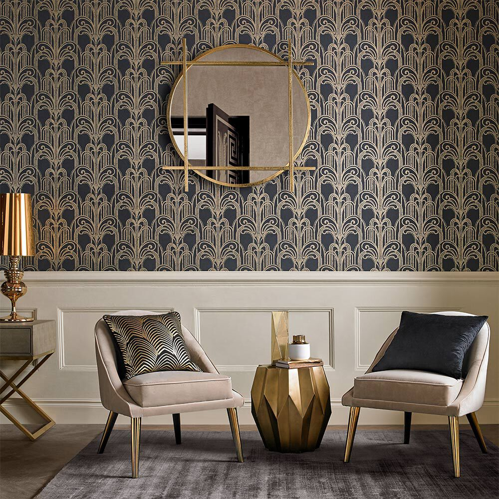 ... Large Art Deco Black And Gold Wallpaper, ...