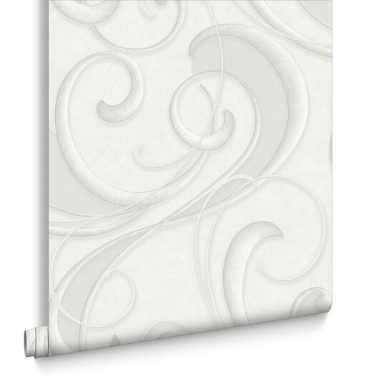 Flamenco White and Silver Wallpaper, , large