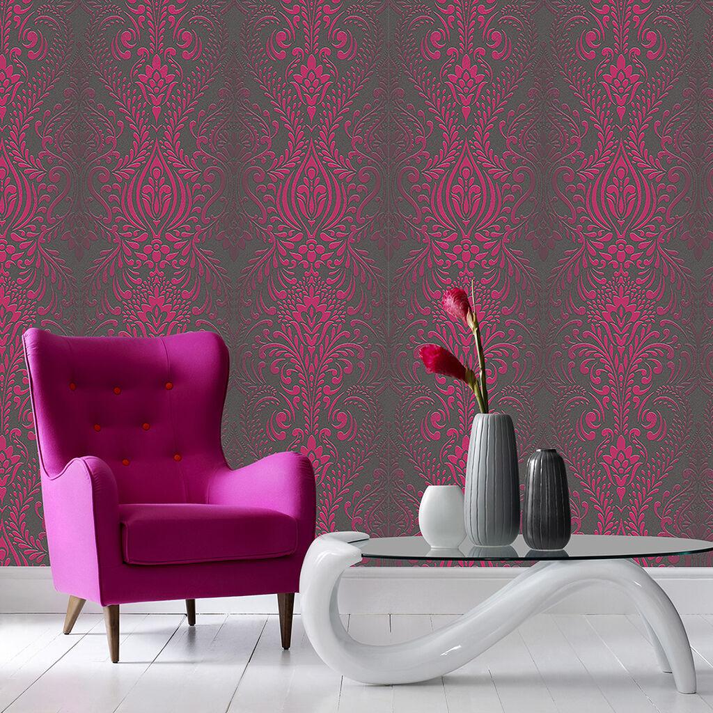 Wallpaper Black Pink: Glamour Damask Black/Pink