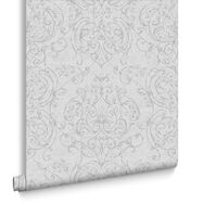 Empress Damask Grey Wallpaper, , large