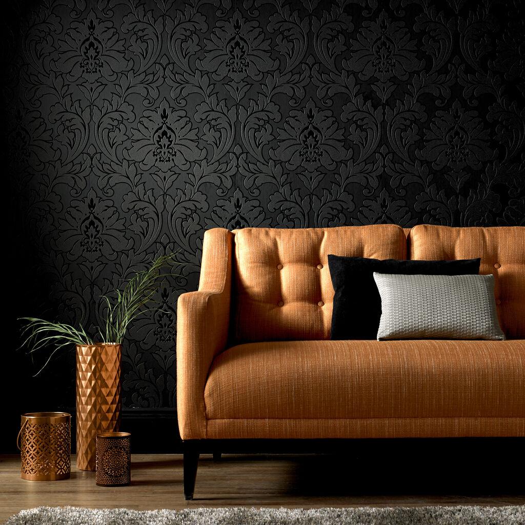 majestic black wallpaper graham brown. Black Bedroom Furniture Sets. Home Design Ideas