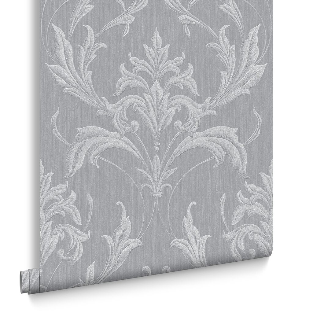 Oxford silver and grey wallpaper vinyl wallpaper for Gray vinyl wallpaper