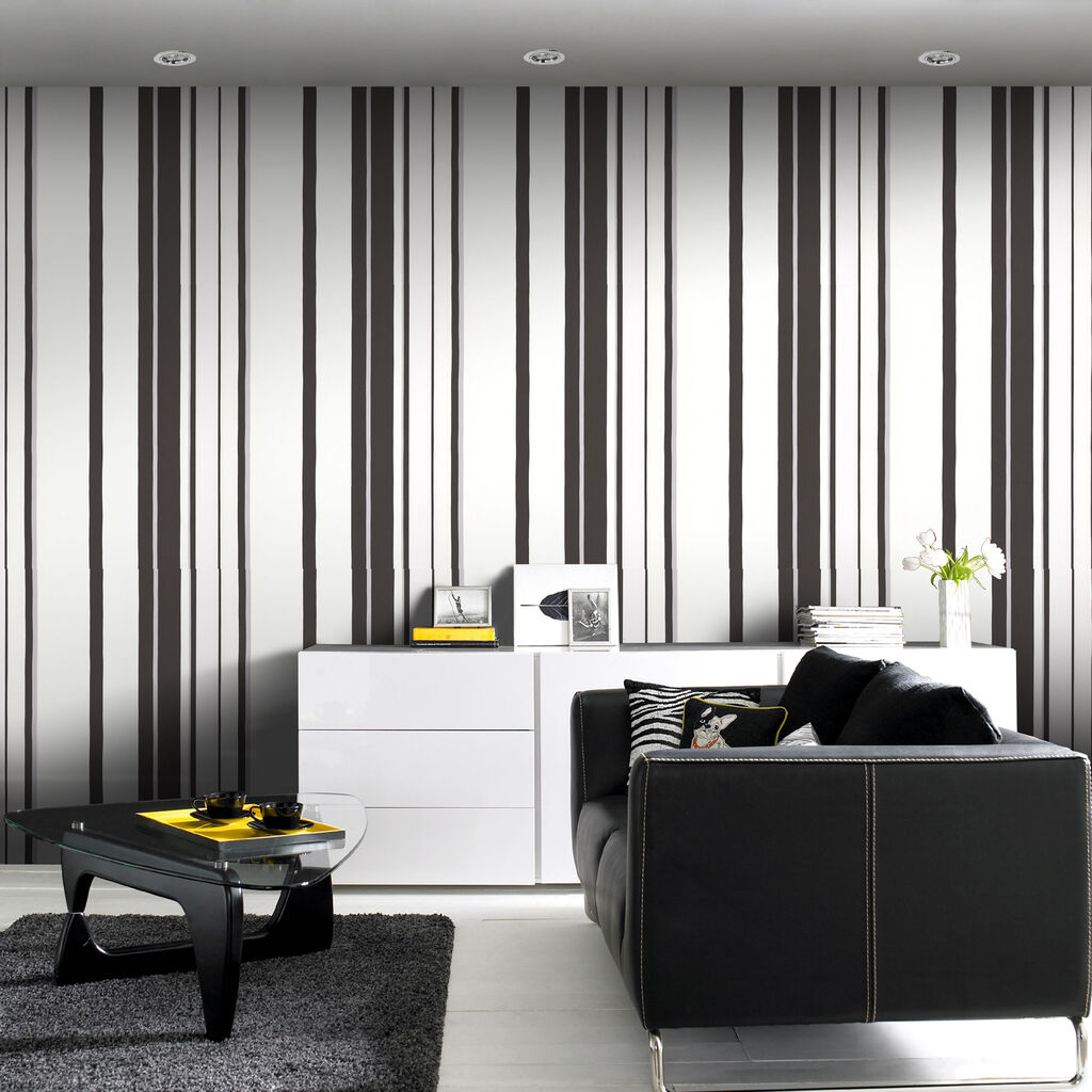 Hoppen Stripe Black And White And Silver Wallpaper