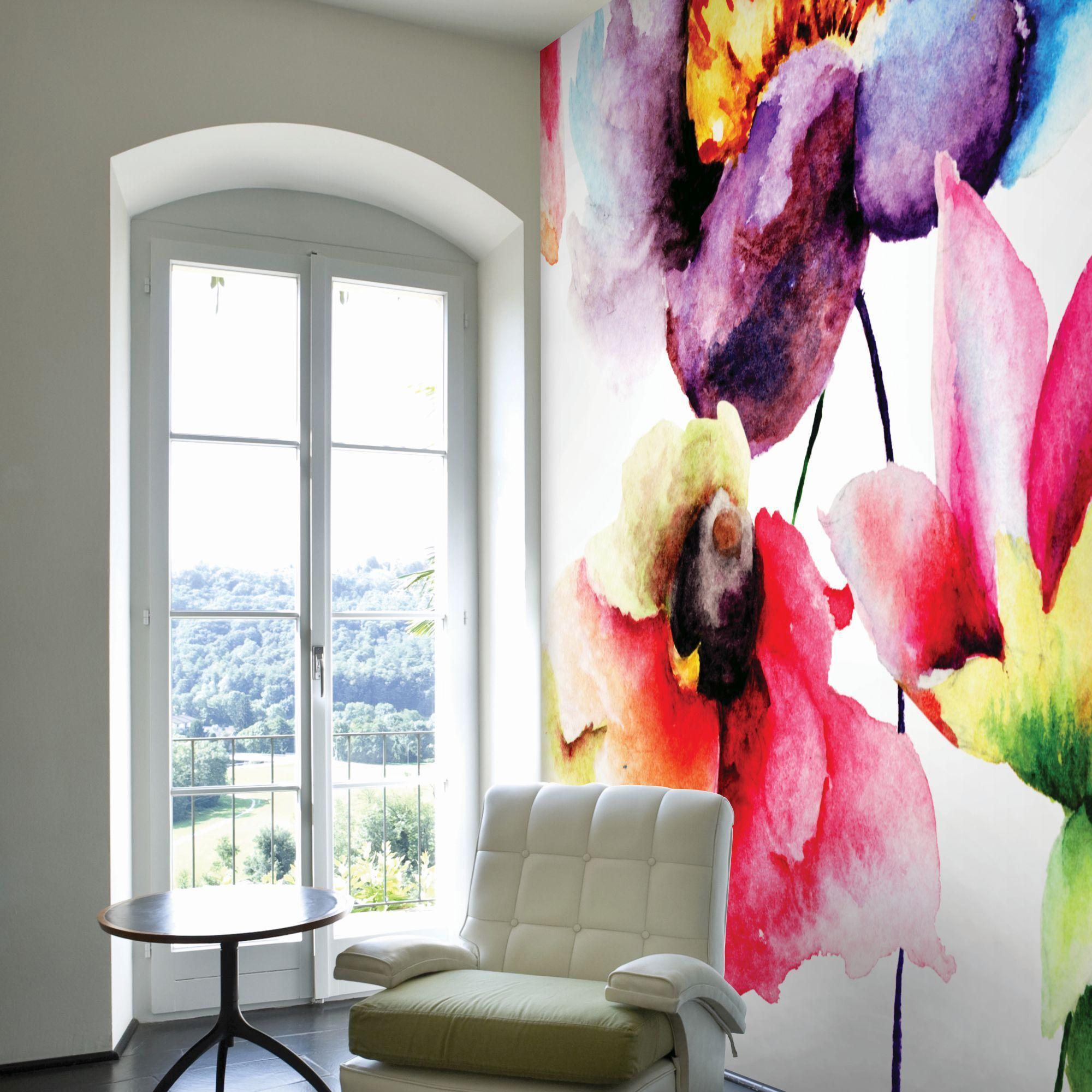 watercolour flora wall mural