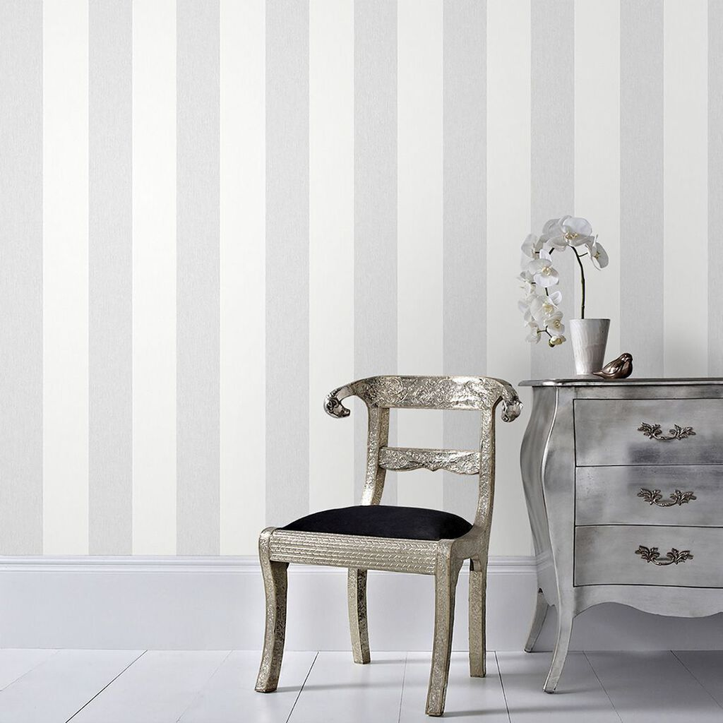 Calico stripe grey wallpaper graham brown for Silver kitchen wallpaper