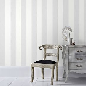 Calico Stripe Grey Wallpaper, , large