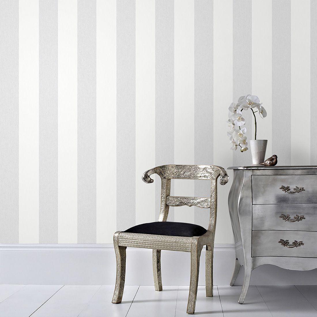 ... Large Calico Stripe Grey Wallpaper, ...