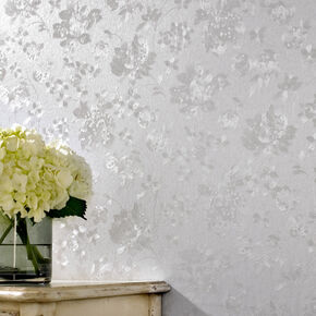 Floral Silk Silver Mist Wallpaper, , large
