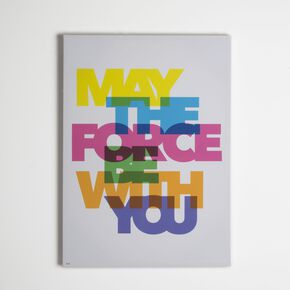 Star Wars Neon May the Force Be With You Printed Canvas, , large