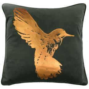 Hummingbird Bronze Metallic Cushion, , large