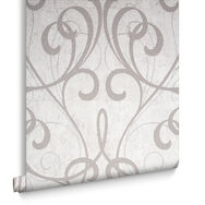 Cream / Pale Gold Cork Damask Wallpaper, , large