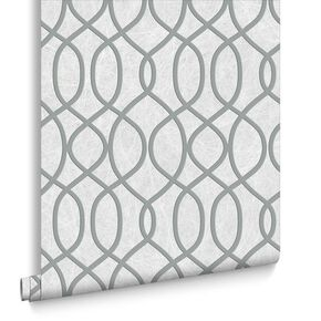 Knightsbridge Flock Pale Grey Wallpaper, , large