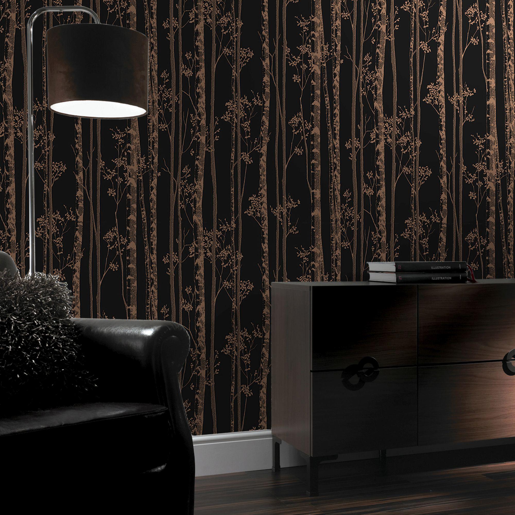 ... Large Linden Black And Copper Wallpaper, ...