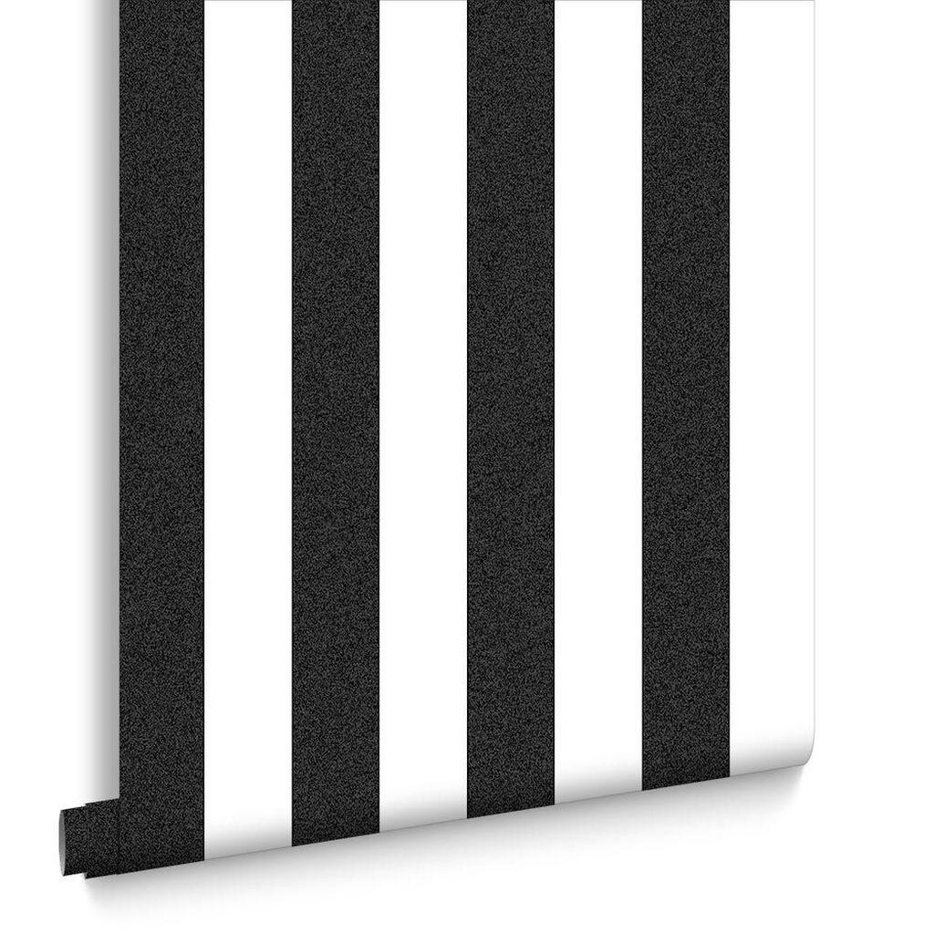 Gray and white striped wallpaper - Helen Glitter Stripe Black White Wallpaper