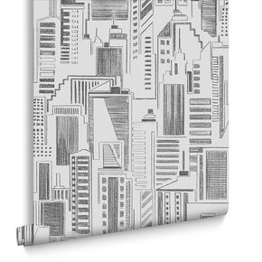 Sketch Cityscape Black and White Wallpaper, , large