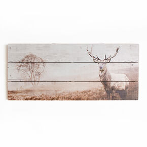 Stag Print On Wood Wall-art, , large