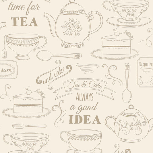 Kitchen Tea Background: Afternoon Tea Cream Wallpaper