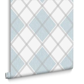 Argyle Skye Blue Wallpaper, , large