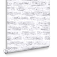 White Realistic Brick Wallpaper, , large