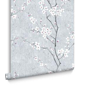 Pale Blue Sakura Behang, , large