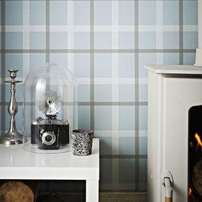 Plaid Skye Blue Wallpaper, , large