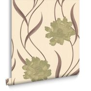 Poppy Green and Cream Wallpaper, , large