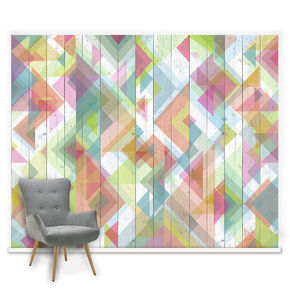 Couture Geo Wood Neons Mural, , large