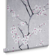 Soft Grey Sakura Wallpaper, , large