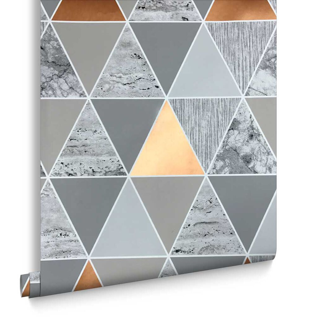 Buy marble rose gold silver and floral geo triangles rectangular - Copper Reflections Wallpaper Large