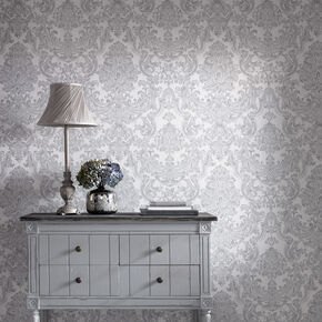 Montague Silver Wallpaper, , large