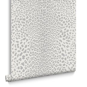 Leopard White and Silver Wallpaper, , large
