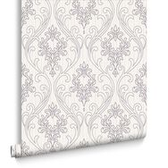Royale Lilac and White Wallpaper, , large