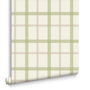 Plaid Spring Green Wallpaper, , large