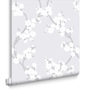 Cherry Blossom Silver Wallpaper, , large
