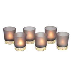 Pack of 6 Grey & Gold Tealight Holders, , large