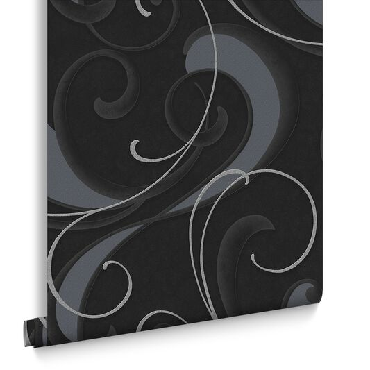 Flamenco Charcoal and Silver Wallpaper, , large
