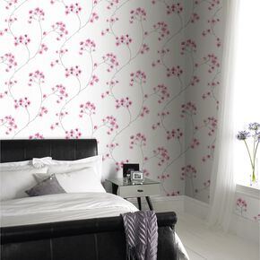 Large Radiance White And Pink Wallpaper