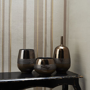 Hoppen Stripe Taupe and Gold Wallpaper, , large