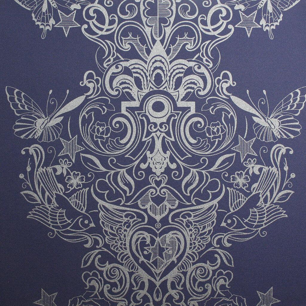 Sinbad Ink Blue Wallpaper Graham Brown