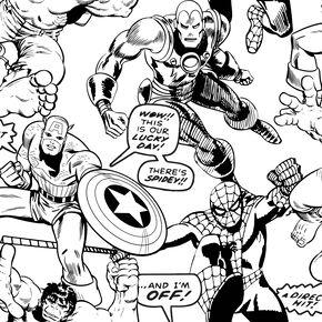 Marvel Comics Superheroes Colour your Own Wallpaper, , large