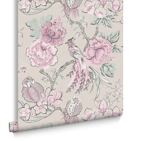 Chinoiserie Pink Linen Wallpaper, , large