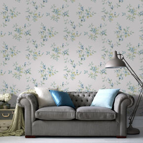 Clemmie Teal Wallpaper, , large